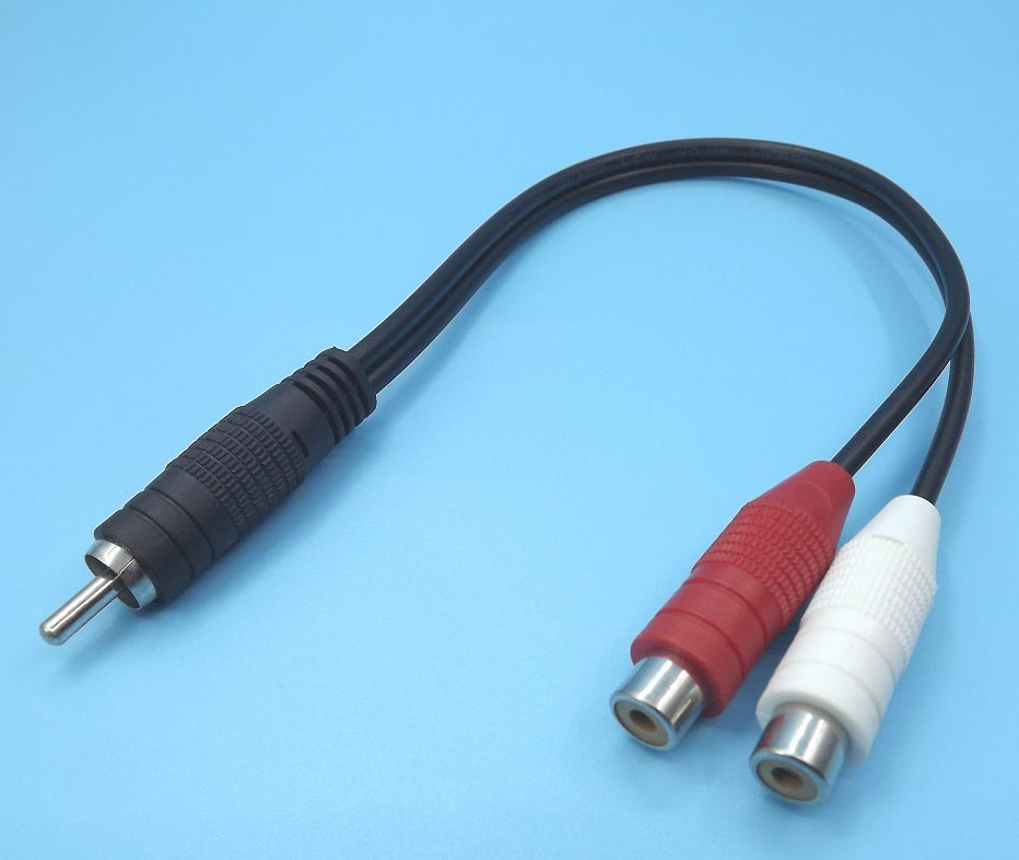 RCA to 2RCA Male Female Splitter Combine Cable CVBS Audio Adapter ...